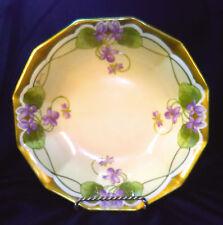 Spectacular Blakeman+Henderson Bowl Violets Gold Signed Baumy Mint Limoges Ant