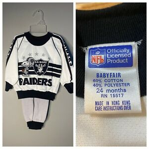 Vintage Oakland Los Angeles Raiders Youth Kids 24 month outfit matching set NOS