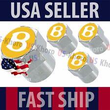 Bentley B Gold Logo Valves Stems Caps Covers Chrome Wheel Roundel Tire Emblem US