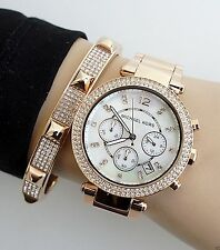 NEW MICHAEL KORS MK5491 PARKER ROSE GOLD WOMEN'S LADIES CHRONOGRAPH WATCH UK