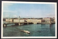 LENINGRAD University Embankment POSTCARD Boat RUSSIA Printed in USSR 770