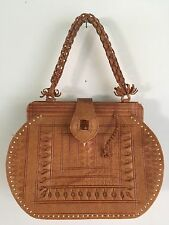 MOROCCAN PURSE - Vtg Leather Intricately Tooled Gladstone Bag, Estate Sale