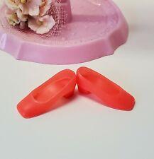 Barbie Vintage Mattel 1960's Coral/Orange Square Toe Shoes Accessories Clothes
