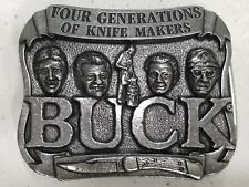 Vintage BUCK Knives Pewter Belt Buckle Four Generations of Knife Makers no ship
