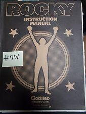 Rocky Pinball Machine Game Manual #771 for sale - Gottlieb - Free Ship Low 48