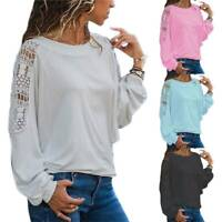 Plus Size Women Lace Long Sleeve Shirts Ladies Loose Casual T-Shirt Top Blouse