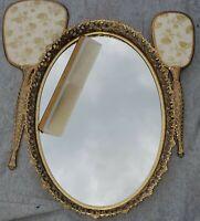 Vintage Gold Filigree Vanity Perfume Glass Top Tray Brush Hand Held Mirror Comb