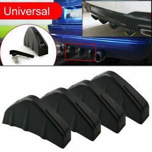 4pcs Shark Fins Universal Black Rear Bumper Decorative Spoiler Wing Lip Diffuser