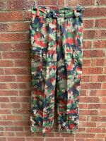SWISS ARMY SURPLUS ISSUE G2 ALPENFLAGE,HD TROUSERS,6 COLOUR SUMMER COMBAT PANTS.
