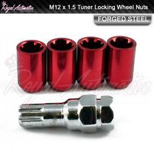 4 M12x1.5 Tuner Locking Wheel Nuts Slim Drive Ford Focus Mondeo Fiesta Red