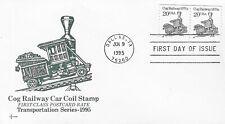 U.S. 1995 COG RAILWAY CAR 1870's 20c #2463 Coil Pair on a SOSCovers FDC Cachet