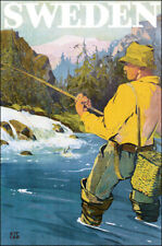 SWEDEN FISHING FRESH WATER FISH TRAVEL VINTAGE POSTER REPRO 10x16