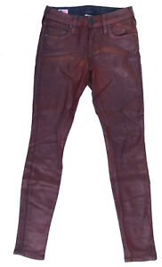 True Religion Jeans 'HALLE SUPER VIXEN SKINNY' Red Coated 24 NEW RRP $279 Womens