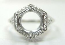 Antique Art Deco Filigree Mounting Setting 14K White Gold Hold 7.5-9MM Size 9