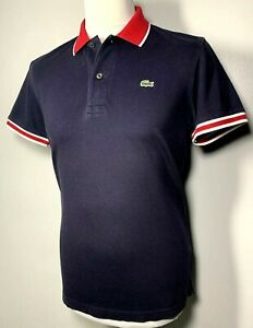 Mens Lacoste Navy Blue Red White Polo Shirt Size M *Exclusive* 9-647