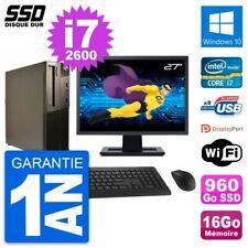 "PC LENOVO M82 SFF Screen 27 "" Intel i7-2600 RAM 16Go SSD 960Go Windows 10 Wifi"