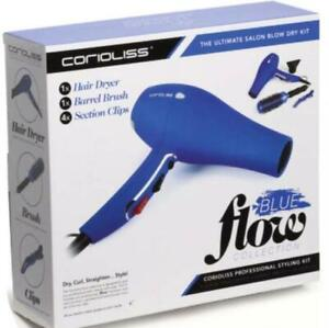 Corioliss 1875W Professional Styling Kit: Ionic Hair Dryer, Brush & Clips - Blue