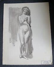 PIERRE VILLAIN aquarelle femme nue de face cachet vente atelier 1986