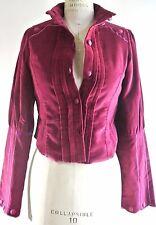 NATAYA Pink Magenta Steampunk Velvet Short Jacket Military Vintage Xs-S