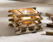 Windlicht Treibholz, eckig, mit Glaseinsatz, Teelichthalter, Kerzenhalter