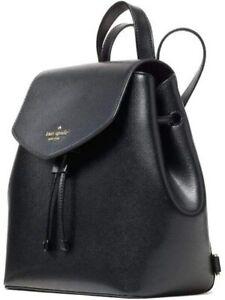 Kate Spade New York Backpack Medium Flap Lizzie Black Saffiano New $329