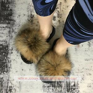 Women's Real Fox Fur Slippers Vogue Fluffy Fur Sandals Comfort Slides Flat Shoes