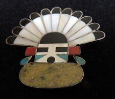 Zuni Wotemthla Kachina Pin Mosaic Inlay Stunning Serpentine Fur Collar 1950s