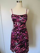 NW Collection Pink Animal Print Spaghetti Strap Ruched Party Dress NWOT SZ: L