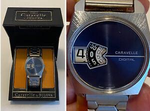 Vintage 1970's CARAVELLE By BULOVA Men's DIGITAL Watch N3 Manual Wind Runs w/Box