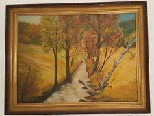 Ölgemälde oil painting 91x71 cm TOP signiert Landschaft BACH BÄUME FELD 1976