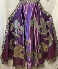Purple Satin/Silver Embellished Theater Costume Cloak/ Black Lining