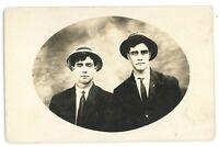 RPPC Portrait of 2 Young Gentlemen in Hats Vintage Real Photo Postcard