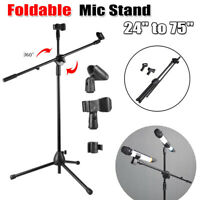 "Microphone Boom Stand Dual Mic Clip Holder Arm Adjustable 24-75"" Foldable Tripod"