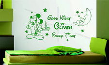 Mickey Mouse Good Night Personalised Name Girl or Boy Disney Vinyl Wall Sticker
