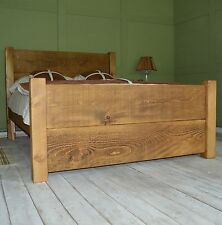 *New* Solid Hand Crafted Rustic Chunky Plank Bed King Size (5ft) High Foot End