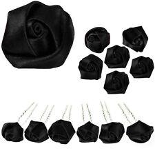 6 epingles pics cheveux chignon boutons de rose noires gothique émo rock