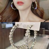 Gorgeous Crystal Hoop Earrings Geometric Rhinestone Earrings Women Jewelry Gift