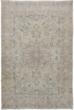 Muted Floral Semi Antique Distressed Wool Hand-Made Evenly Low Pile Area Rug 7x9