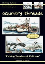 Fishing Trawlers & Pelicans - Cross Stitch Charts - Country Threads. 2 Designs