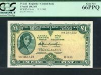 Ireland:P-64ae,1 Pound,1964* Lady Hazel Lavery * EMERGENCY * PCGS Gem UNC 66 PPQ