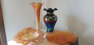 Carnival Glass Vases, Bowl and Plate