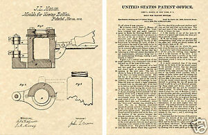 MASON JAR Mold 1858 US Patent Art Print READY TO FRAME!!! John Bottle Mould