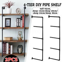 2 Pack Industrial Iron Pipe Shelf Wall Mounted Hanging Storage Shelves Bracket