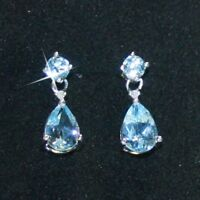 Blue Topaz Tiny Diamond Teardrop Dangle Drop Earrings 14k White over 925 SS