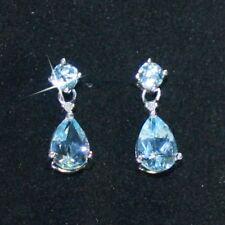 Topacio Azul Diminuto Gota Lágrima Diamante Pendientes Colgante 14k Blanco más