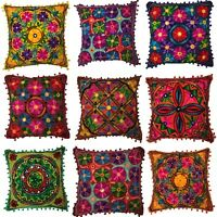 Indian Pom Poms Bohemian Suzani Ethnic Cushion Covers Embroidered 40 x 40 cms