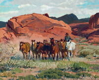 Art Giclee Print Cowboy and Horse Landscape Oil painting Printed on Canvas P243