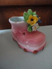 Italy Porcelain shoe Boot Bootie asst colorful flowers Planter Container Vintage