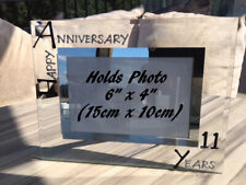 11th Wedding Anniversary Gift Photo: Frame Landscape (Blk/Sil)