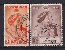 ZANZIBAR 1948 SILVER WEDDING SG333/34 FINE USED